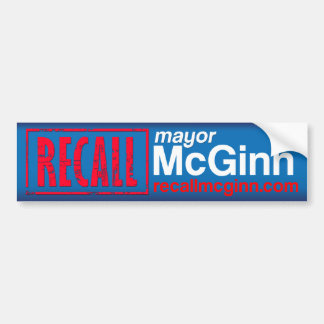 Recall Mayor Mike McGinn Car Bumper Sticker