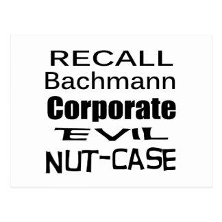 Recall Michele Bachmann Corporate Evil Nut-Case Postcard