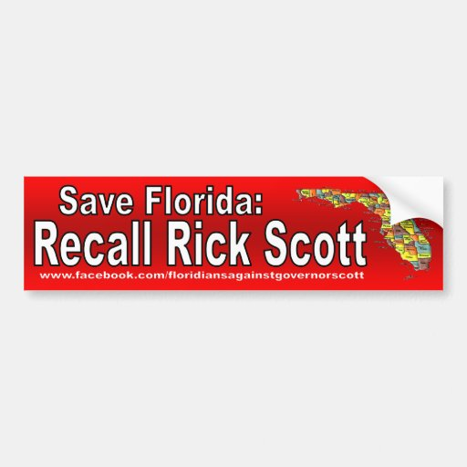 Recall Rick Scott Car Bumper Sticker