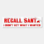 RECALL SANTA Bumper Sticker