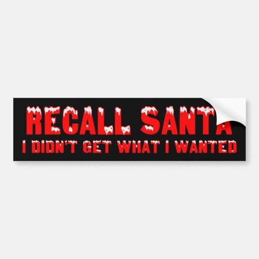 RECALL SANTA Bumper Sticker Car Bumper Sticker