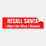 Recall Santa Car Bumper Sticker