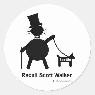Recall Scott Walker Round Stickers