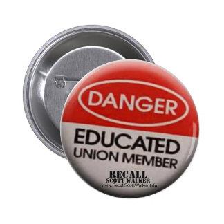 Recall Scott Walker - Union Member Button