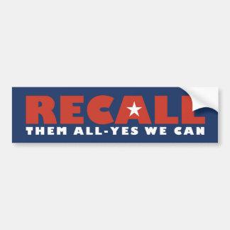 Recall Them All Car Bumper Sticker