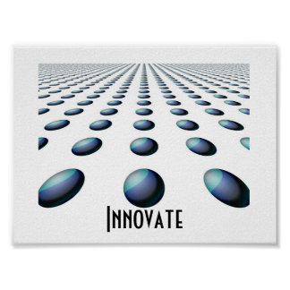 Receding Blue Patterned Balls -  Innovate Posters
