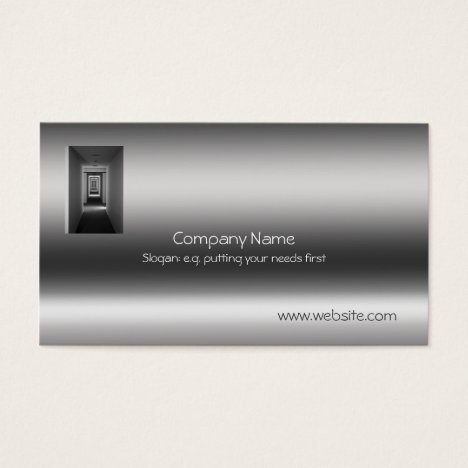 Receding Corridor Metallic-look template Business Card
