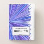 "[ Thumbnail: ""Receipts"" + Blues & Purples Line Burst Pattern Pocket Folder ]"