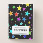 "[ Thumbnail: ""Receipts"" + Fun, Colorful Stars Pattern Pocket Folder ]"