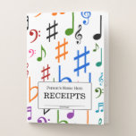 "[ Thumbnail: ""Receipts"" + Many Colorful Music Notes and Symbols Pocket Folder ]"