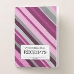 "[ Thumbnail: ""Receipts"" + Pink/Purple/Grey Stripes Pocket Folder ]"