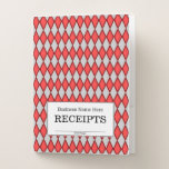 "[ Thumbnail: ""Receipts"" + Red and Gray Diamond Shape Pattern Pocket Folder ]"