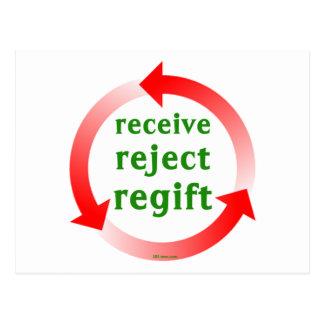 Receive Reject Regift Postcard