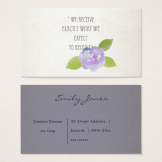 RECEIVE WHAT WE EXPECT TO RECEIVE PURPLE FLORAL BUSINESS CARD