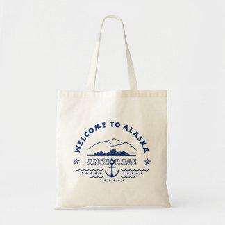 Recepción a Alaska. Anchorage - logotipo azul Bolsa Tela Barata