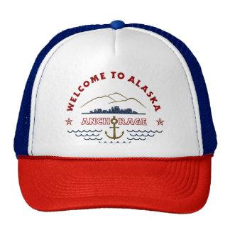 Recepción a Alaska. Anchorage - logotipo del color Gorras De Camionero