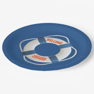 Recepción a bordo del anillo de vida náutico plato de papel 22,86 cm