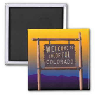 recepción a Colorado colorido Imán Cuadrado