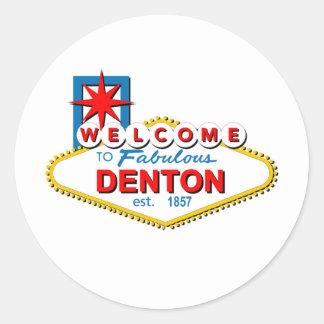 ¡Recepción a Denton, Tejas! Pegatina Redonda