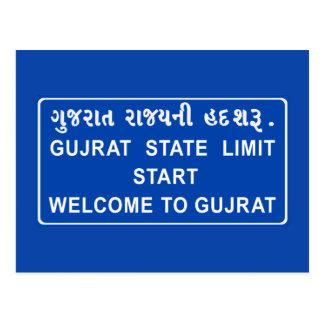 Recepción a Gujarat, señal de tráfico, la India Postal