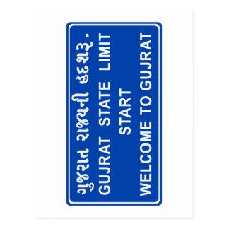 Recepción a Gujarat, señal de tráfico, la India Postales