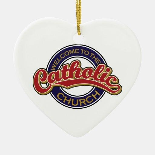 Recepción a la iglesia católica adorno navideño de cerámica en forma de corazón