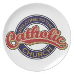 Recepción a la iglesia católica plato de comida