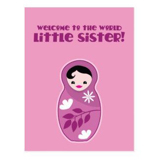 ¡Recepción a la pequeña hermana del mundo! muñecas Postales