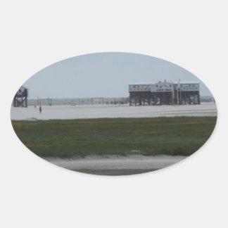 recepción a la playa pegatina ovalada