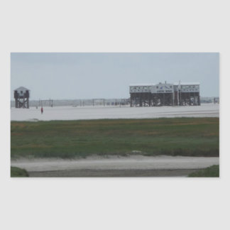 recepción a la playa pegatina rectangular