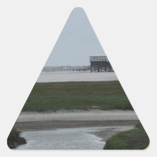 recepción a la playa pegatina triangular