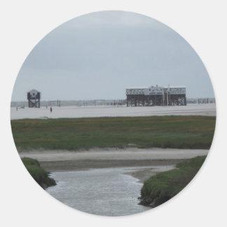recepción a la playa pegatina redonda