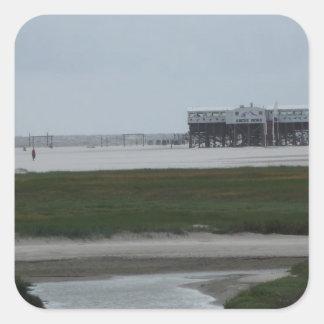 recepción a la playa pegatina cuadrada