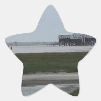 recepción a la playa pegatina en forma de estrella