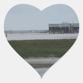 recepción a la playa pegatina en forma de corazón