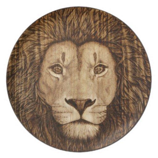 Recepción a la selva - placa de cena del león plato de comida