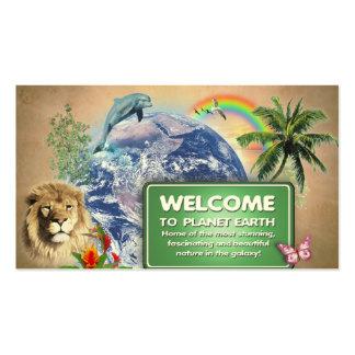 Recepción a la tierra del planeta tarjetas de visita