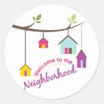 Recepción a la vecindad pegatina redonda