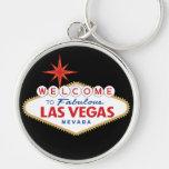 Recepción a Las Vegas fabuloso, Nevada Llavero Redondo Plateado