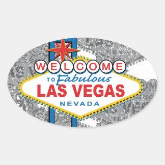 Recepción a Las Vegas fabuloso Pegatina Ovalada