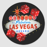 Recepción a Las Vegas + Pegatinas de los dados Pegatina Redonda