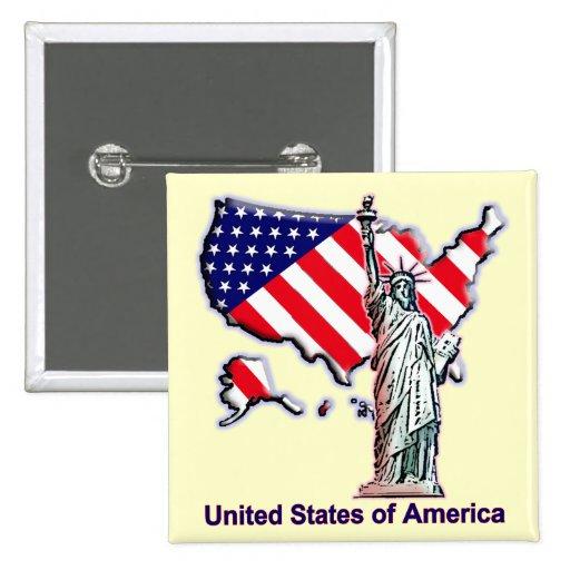 Recepción a los E.E.U.U. Pin Cuadrada 5 Cm