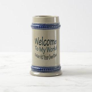 Recepción a mi mundo azul taza de café