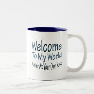 Recepción a mi mundo azul taza