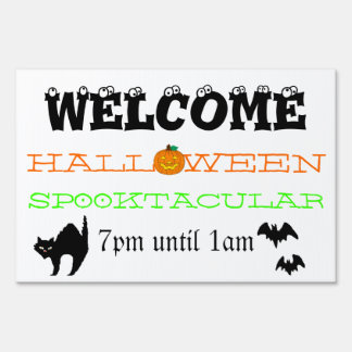 Recepción a nuestra casa encantada de Halloween Letrero
