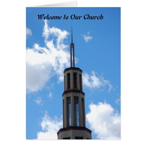 Recepción a nuestra iglesia tarjeta