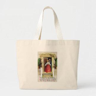 Recepción a nuestro navidad casero del vintage bolsa tela grande