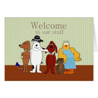 Recepción a nuestro personal, chistoso, animales tarjeta de felicitación