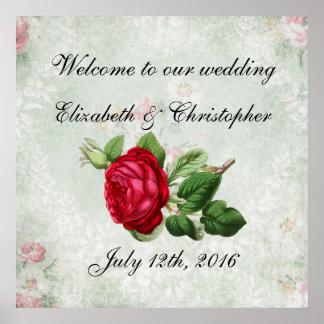 Recepción a nuestro rosa rojo del vintage del boda póster