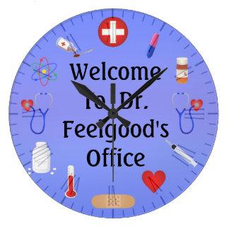 Recepción a Office Customizable Clock del doctor Reloj Redondo Grande